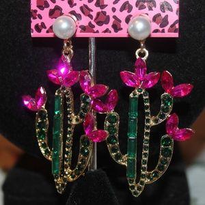 Bright Pink Flowers & Cactus BJohnson Earrings